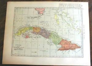 1904 Map Cuba And West Indies Antique