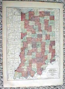 1911 Map Of Illinois & Indiana Antique