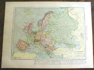 1904 Map Europe And Central Europe Antique
