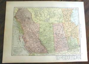 1906 Map Western Canada & Polar Regions Antique