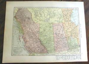 1906 Map Western Canada & Polar Regions Antique (Image1)