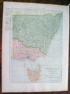 1905 Map New South Wales Victoria Tasmania Queensland