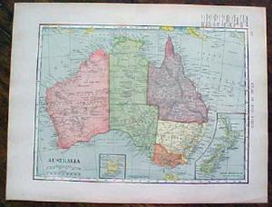 1904 Map Australia Oceania And Pacific Antique