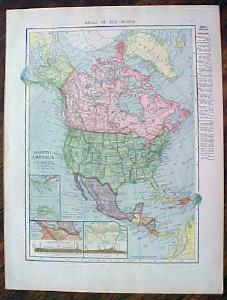 1904 Map North America Antique