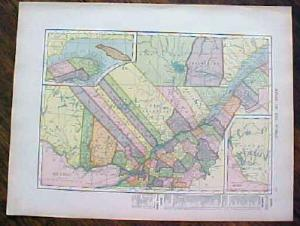 1904 Map Quebec Ontario Antique