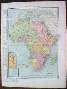 1904 Map Africa And South America Southern Part