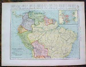 1904 Map South America And Northern South America