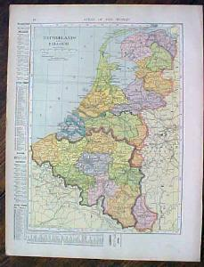 1905 Map Netherlands Belgium Sweden Norway Denmark