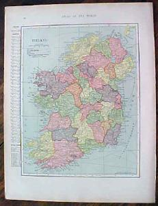 1904 Map Ireland Scotland Antique