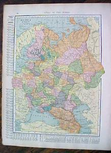 1904 Map Russia Austria Hungary Antique