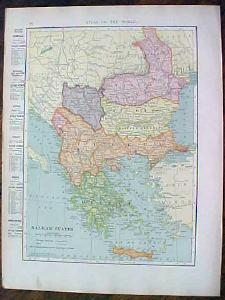 1904 Map Balkan States And Switzerland Antique