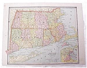 Map Massachusetts RI Connecticut NH Vermont Crams 1883 (Image1)