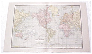 Map The World Large Fold Out Crams 1883 Antique (Image1)