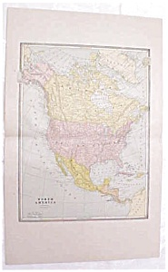 Map North America Large Fold Out Crams 1883 Antique (Image1)