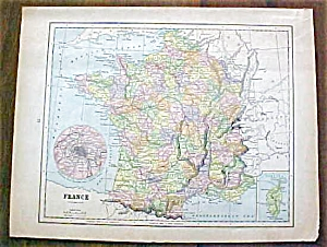 Antique Map France Germany 1901 (Image1)