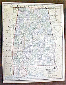 Antique Map Alabama Florida 1901
