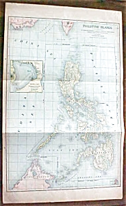 Antique Map Philippine Islands 1901 Large Foldout