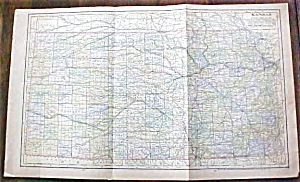 Antique Map Kansas 1901 Large Foldout