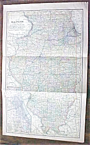 Antique Map Illinois 1901 Large Foldout