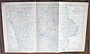 Antique Map Iowa 1901 Large Foldout