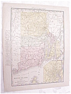 Antique Map Rhode Island Boston City 1917 Rand McNally (Image1)