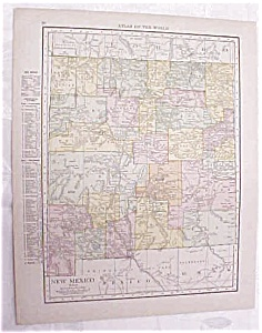 Antique Map New Mexico Colorado 1917 Rand McNally (Image1)
