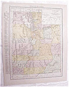 Antique Map Utah Wyoming 1917 Rand McNally (Image1)