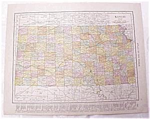 Antique Map Kansas Nebraska 1917 Rand McNally (Image1)