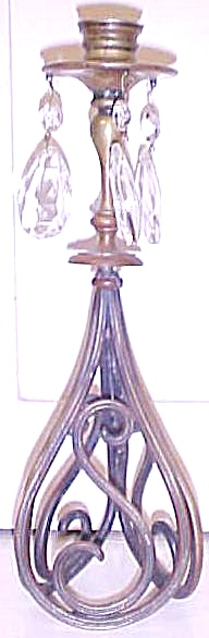 Brass Candlestick Holder w/Glass Prisms (Image1)