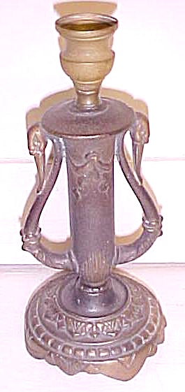 Cast Iron Lamp Base Candlestick Swans (Image1)