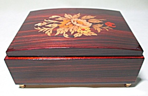 Music Box Inlaid Wood Floral Pattern Mahogany  (Image1)