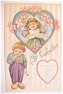 Valentines Postcard Dutch Boy & Girl Colorful 1900's (Image1)