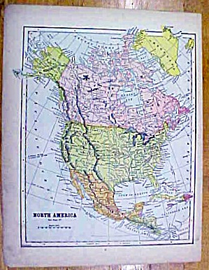 Antique Map North America Western Hemisphere 1902