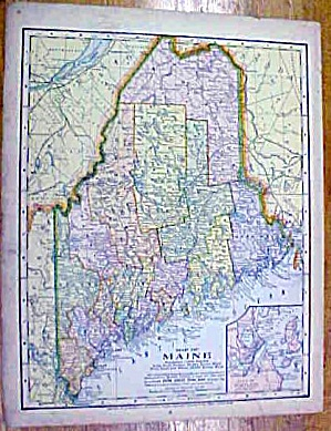 Antique Map Maine/south America 1902