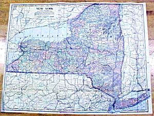 Antique Map New York/michigan 1902 Large Crowell