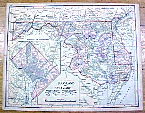 Antique Map Maryland/deleware/w. Virginia 1902