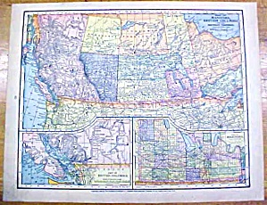 Antique Map Manitoba/british Columbia/porto Rico 1902