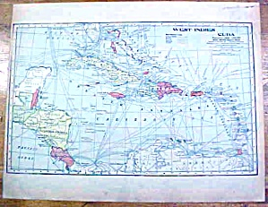 Antique Map West Indies/cuba/europe 1902 Crowell
