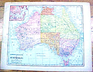 Antique Map South Africa/Australia 1902 Crowell (Image1)