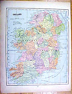 Antique Map Ireland/england/wales 1902 Crowell
