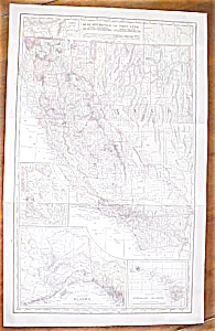 Antique Map California Nevada Alaska Hawaii 1906 Large (Image1)