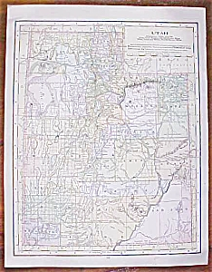 Antique Map Utah Montana 1906 Nice Colors