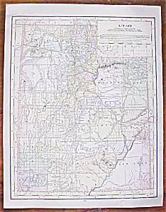Antique Map Utah Montana 1906 Nice Colors (Image1)
