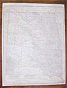 Antique Map North & South Dakota Arkansas 1906