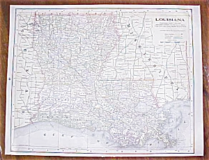 Antique Map Louisiana Mississippi 1906