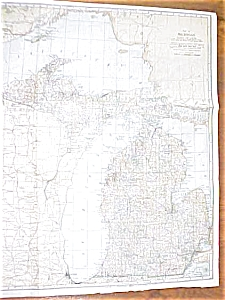 Antique Map Michigan 1906 Large Fold Out (Image1)