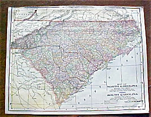 Antique Map North & South Carolina Georgia 1906