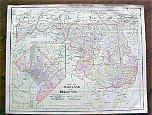 Antique Map Maryland Delaware Virginia West Virginia