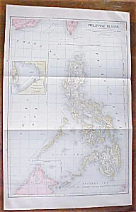 Antique Map Philippine Islands 1906 Large Fold Out (Image1)