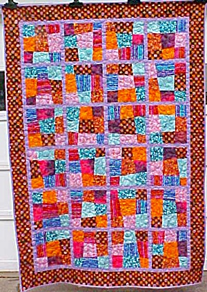 Quilt Crazy Patch Throw 50 x 71 inch Bright Colors (Image1)